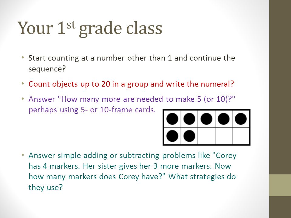 Your 1st grade class Start counting at a number other than 1 and continue the sequence Count objects up to 20 in a group and write the numeral