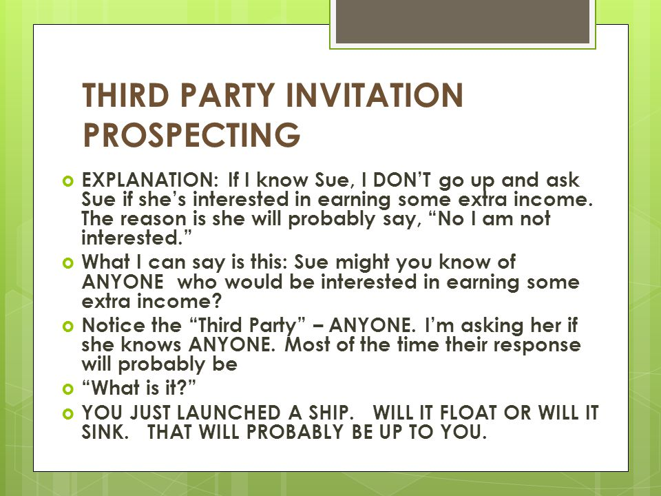 THIRD PARTY INVITATION PROSPECTING