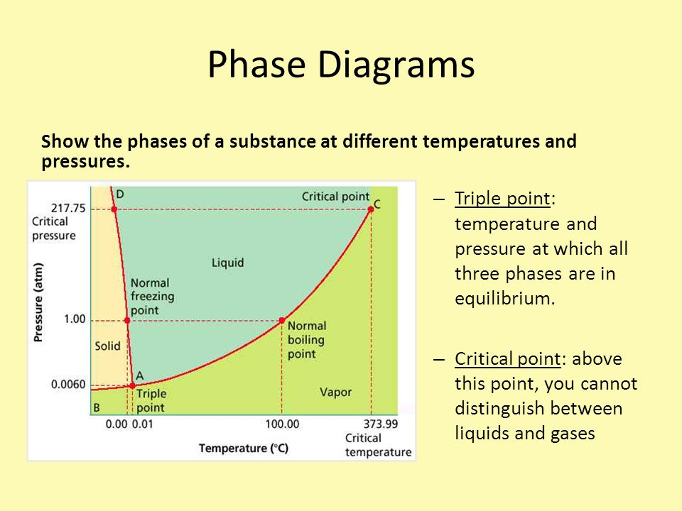Phase Diagrams Show the phases of a substance at different temperatures and pressures.