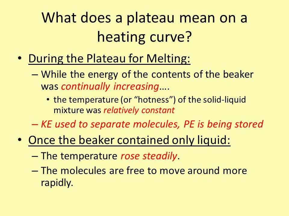 What does a plateau mean on a heating curve