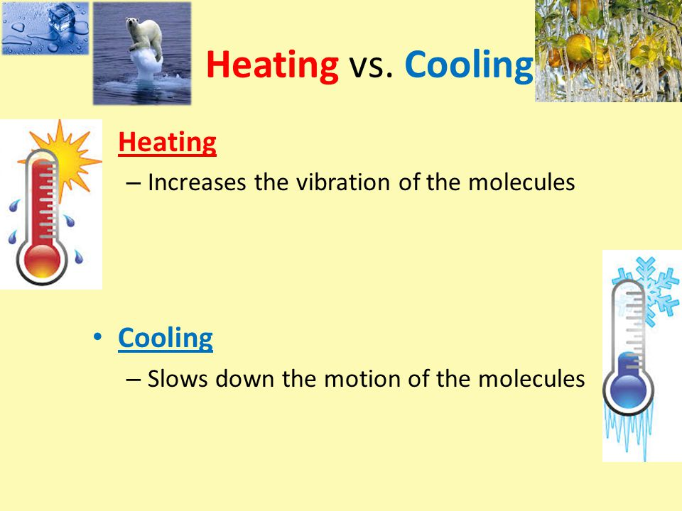 Heating vs. Cooling Heating Cooling