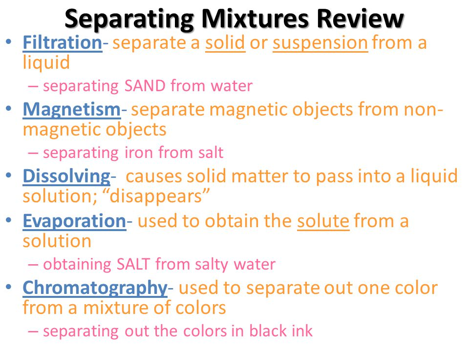 Separating Mixtures Review