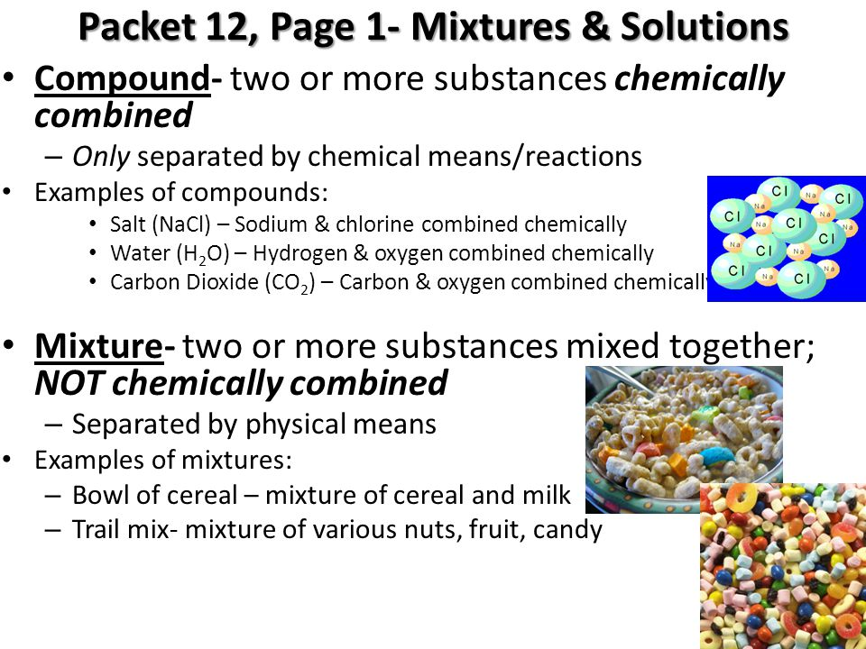 Packet 12, Page 1- Mixtures & Solutions