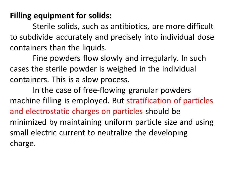 Filling equipment for solids: