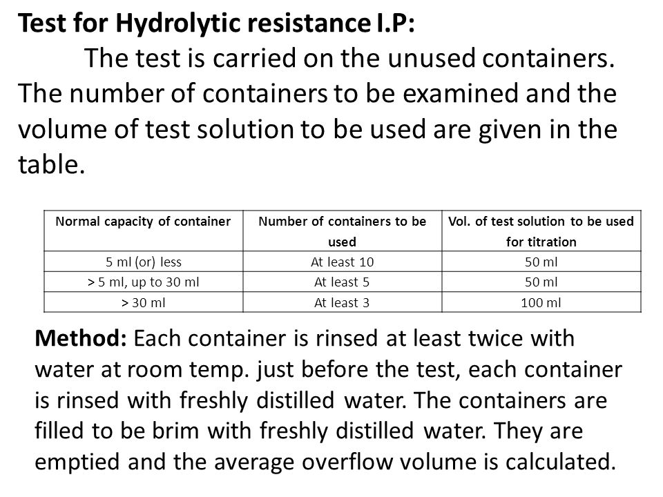 Test for Hydrolytic resistance I.P: