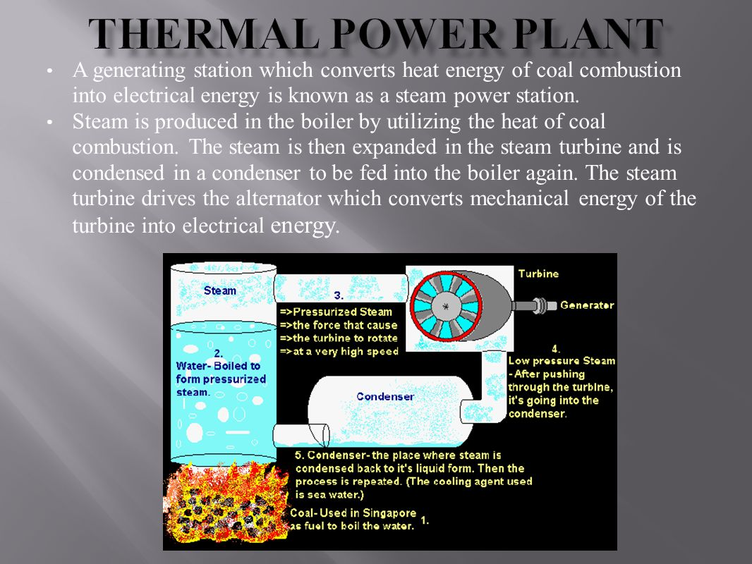 Thermal Power Plant A generating station which converts heat energy of coal combustion into electrical energy is known as a steam power station.