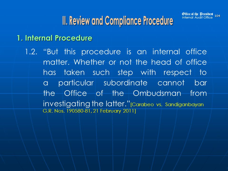 II. Review and Compliance Procedure