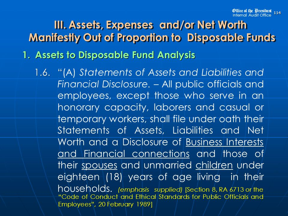 1. Assets to Disposable Fund Analysis