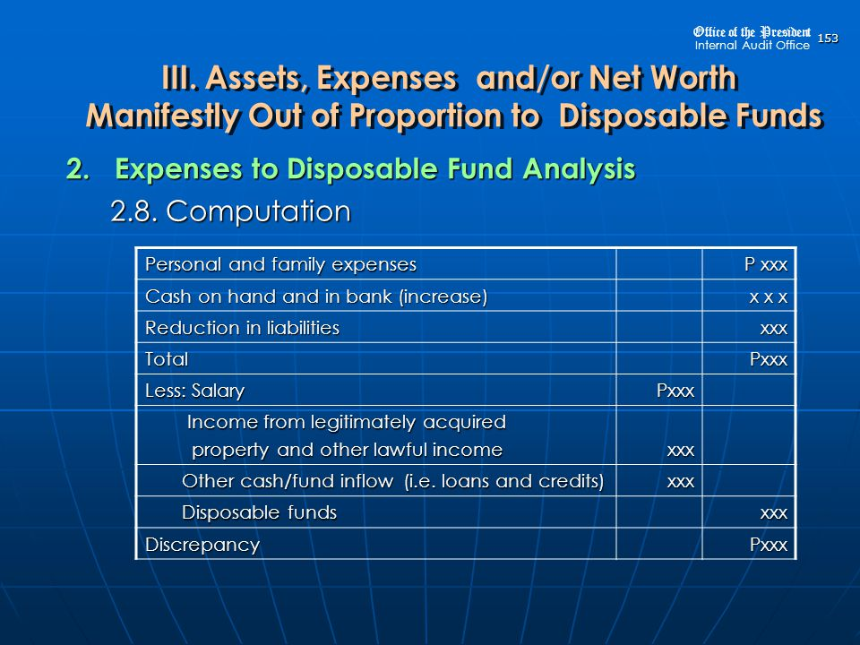 2. Expenses to Disposable Fund Analysis 2.8. Computation