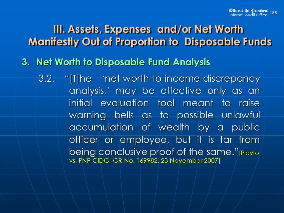 3. Net Worth to Disposable Fund Analysis