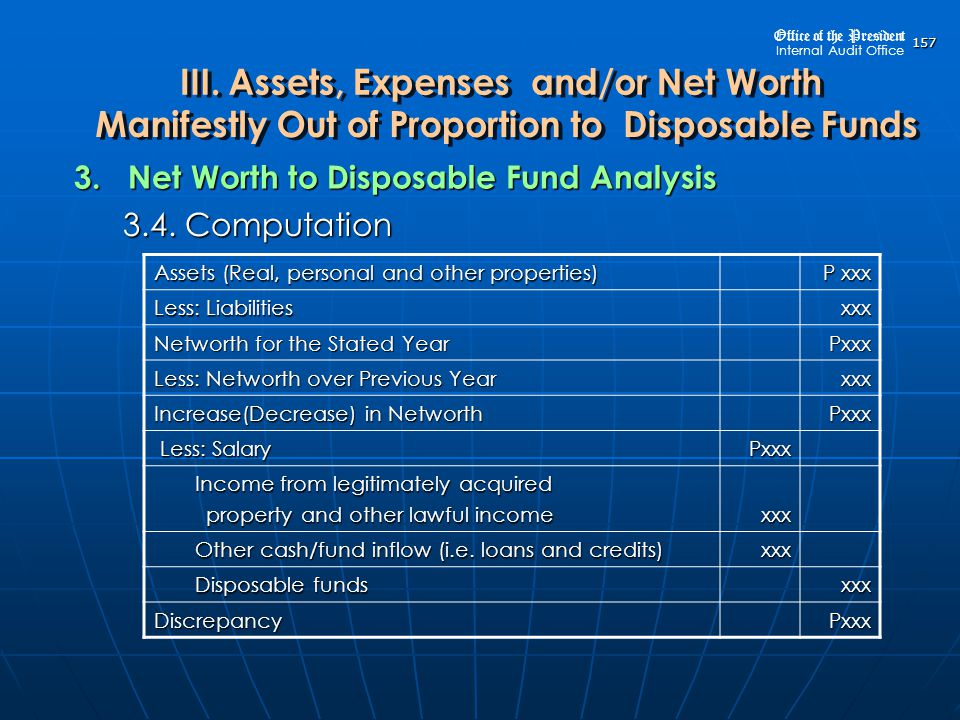 3. Net Worth to Disposable Fund Analysis 3.4. Computation