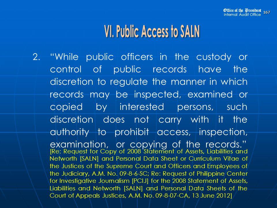 VI. Public Access to SALN