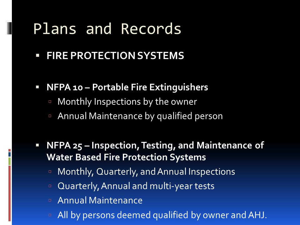 Plans and Records FIRE PROTECTION SYSTEMS