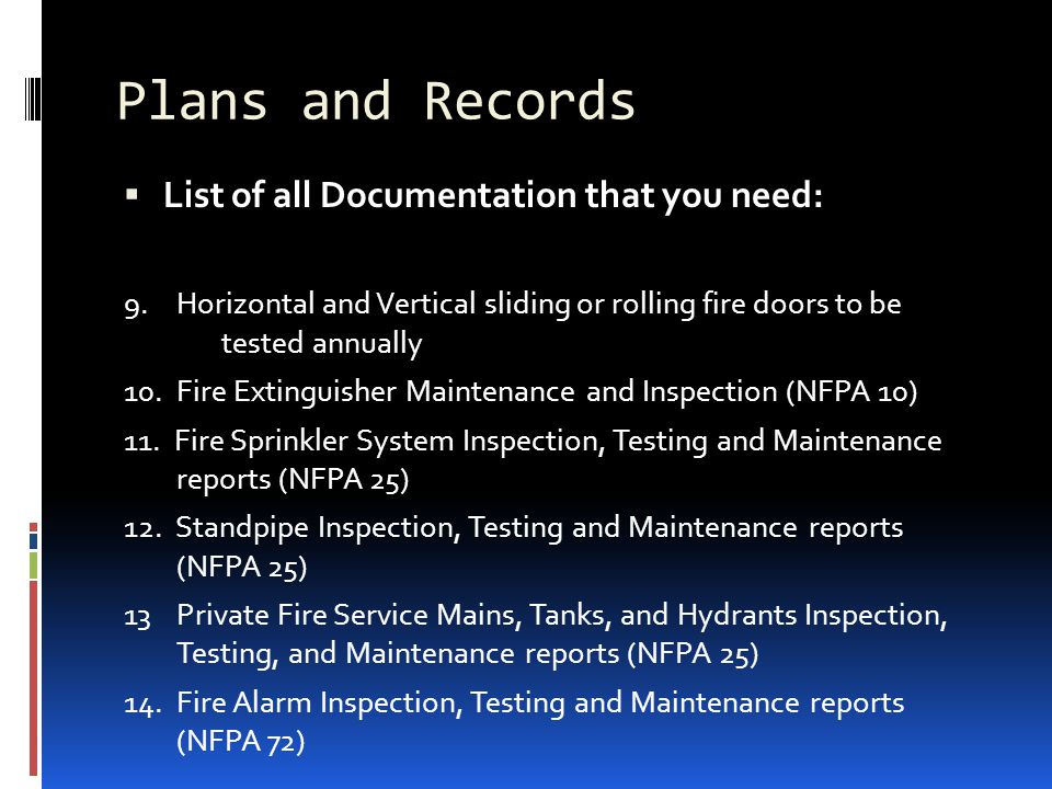 Plans and Records List of all Documentation that you need: