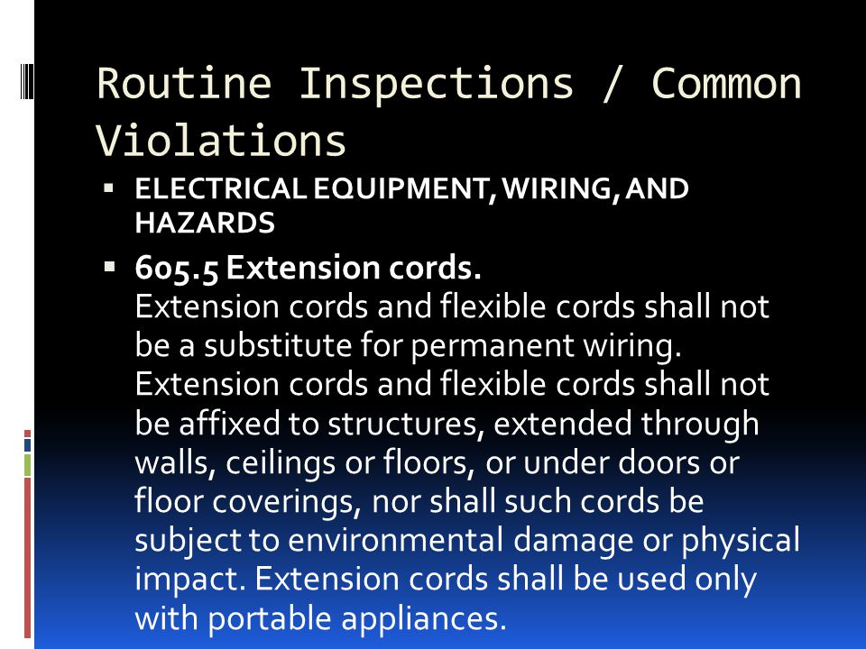 Routine Inspections / Common Violations