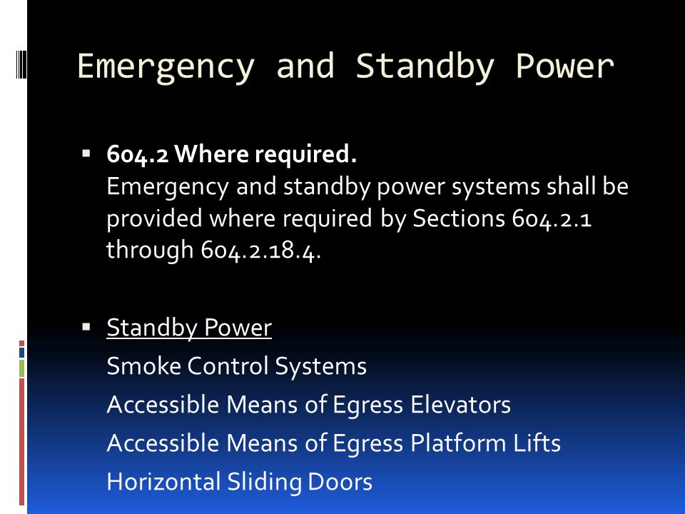 Emergency and Standby Power