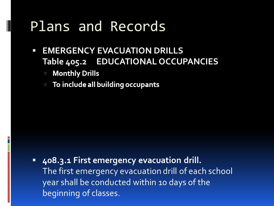 Plans and Records EMERGENCY EVACUATION DRILLS Table 405.2 EDUCATIONAL OCCUPANCIES. Monthly Drills.