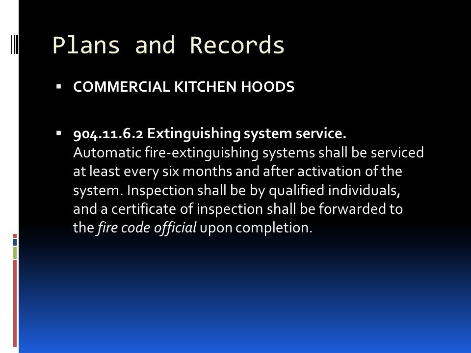 Plans and Records COMMERCIAL KITCHEN HOODS