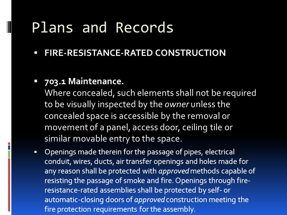 Plans and Records FIRE-RESISTANCE-RATED CONSTRUCTION