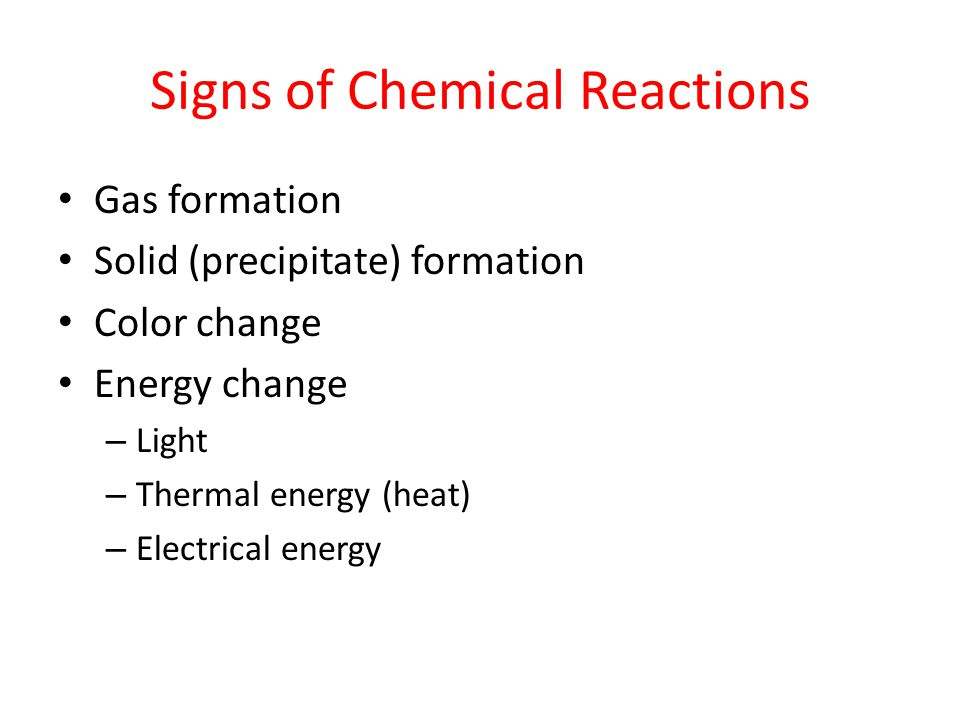 Signs of Chemical Reactions