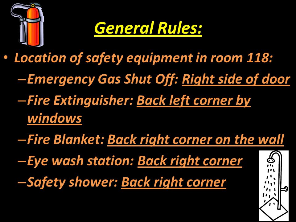 General Rules: Location of safety equipment in room 118: