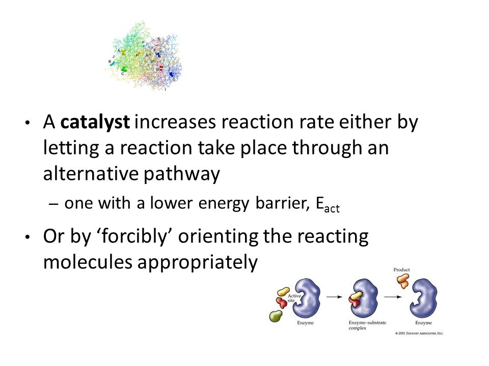 Or by 'forcibly' orienting the reacting molecules appropriately