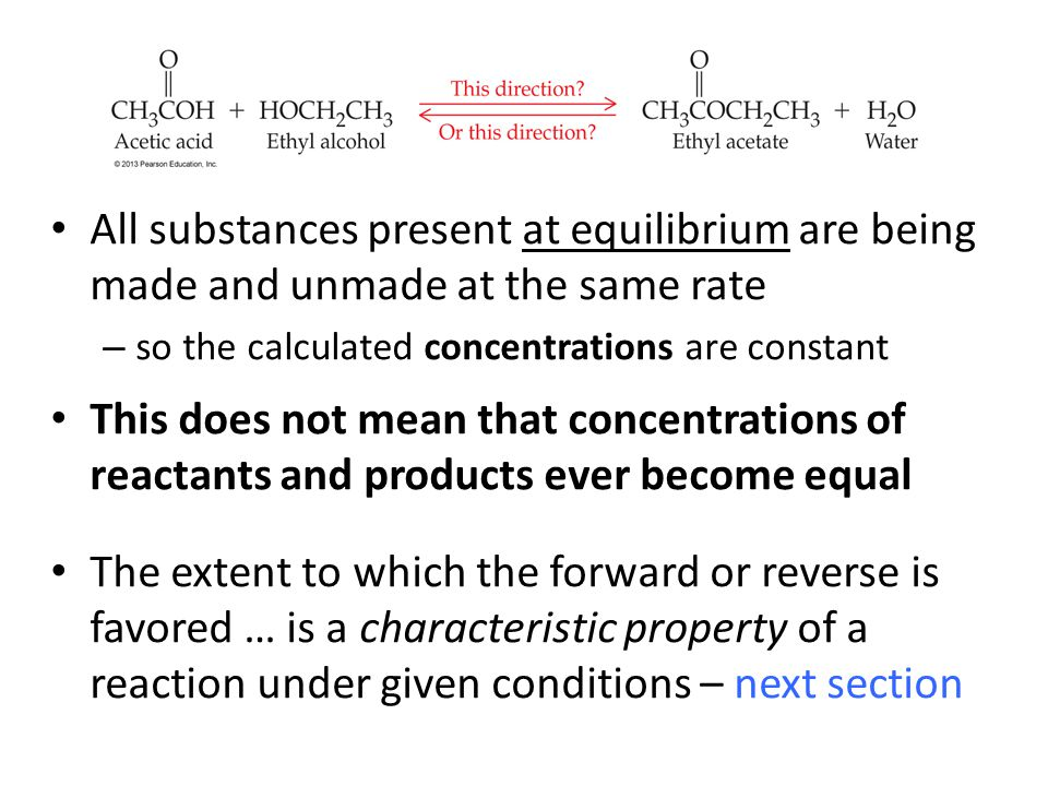 All substances present at equilibrium are being made and unmade at the same rate