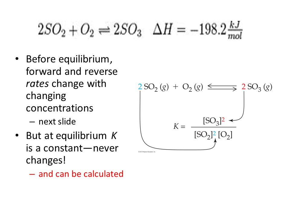 But at equilibrium K is a constant—never changes!