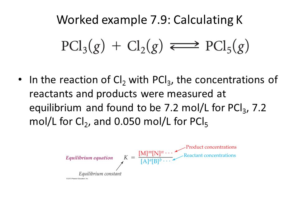 Worked example 7.9: Calculating K