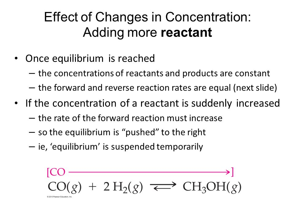 Effect of Changes in Concentration: Adding more reactant