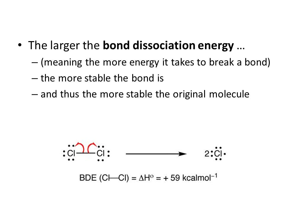 The larger the bond dissociation energy …
