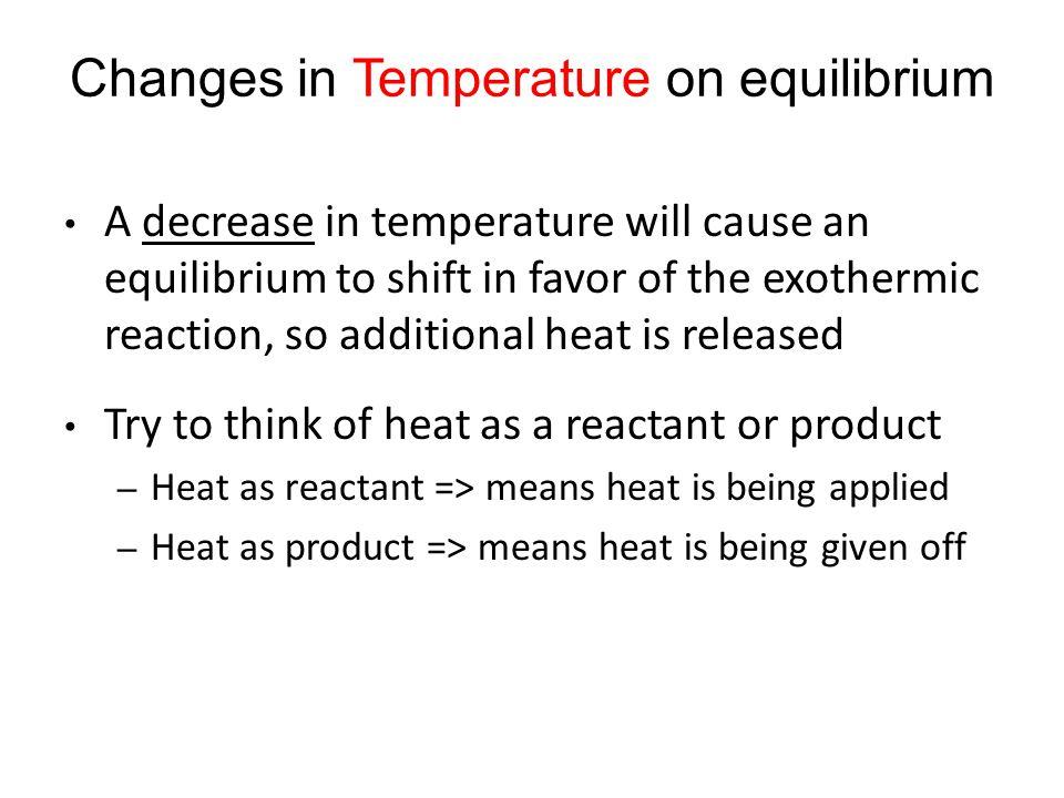 Changes in Temperature on equilibrium
