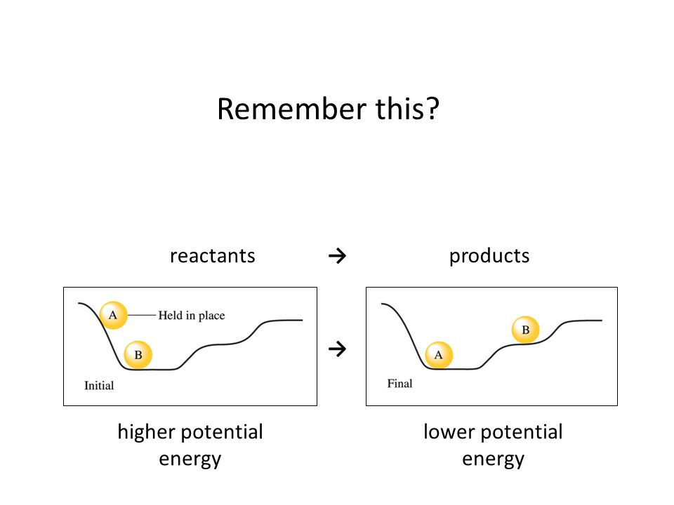 Remember this reactants → products → higher potential energy