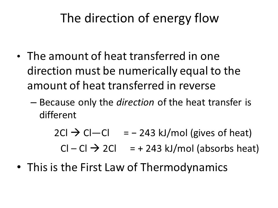 The direction of energy flow