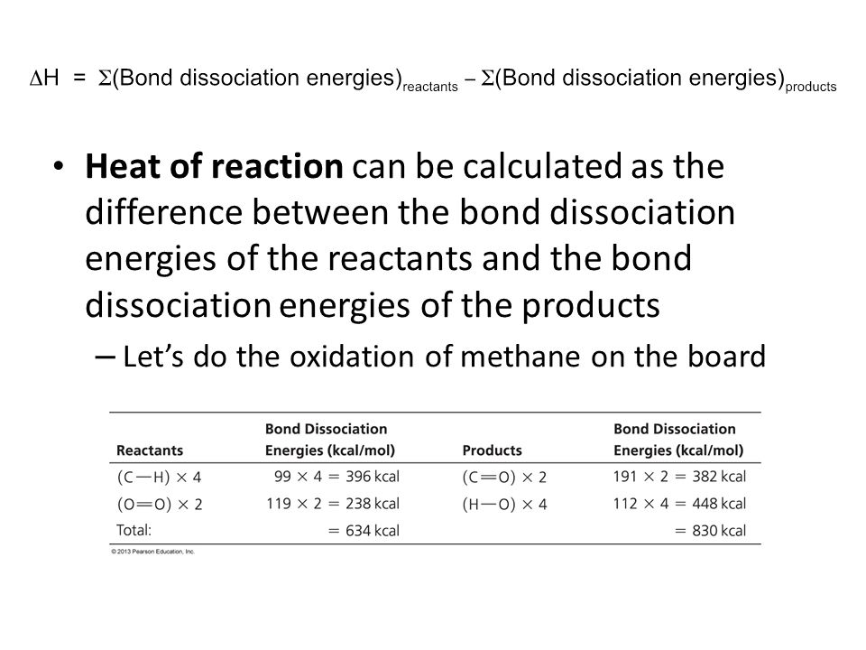 Heat of reaction can be calculated as the difference between the bond dissociation energies of the reactants and the bond dissociation energies of the products