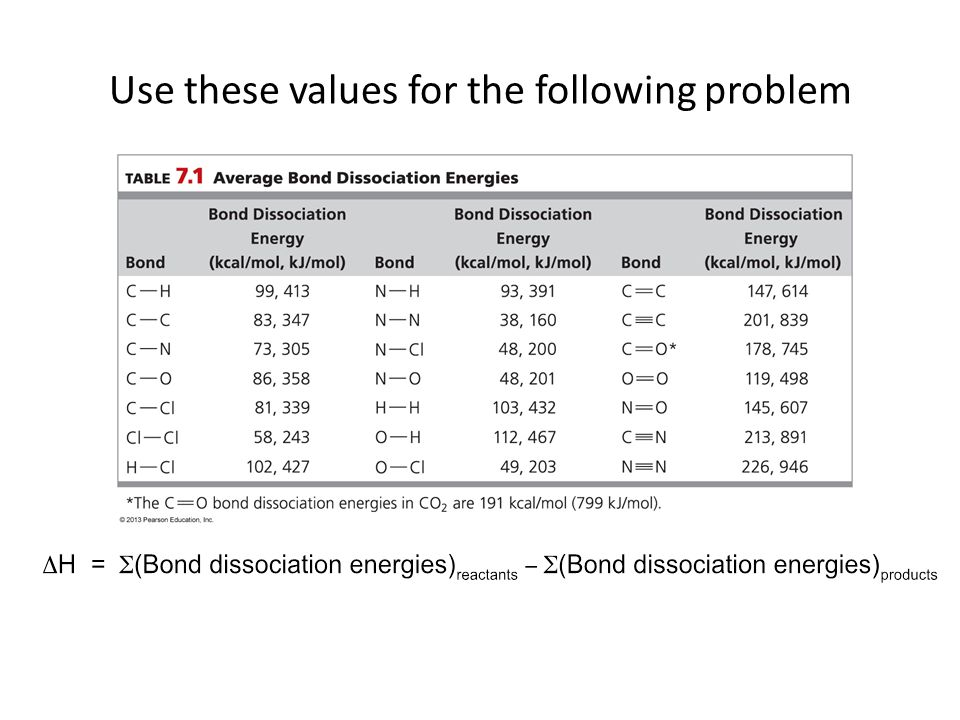 Use these values for the following problem
