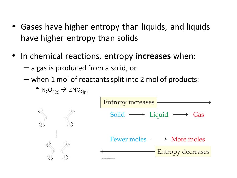 In chemical reactions, entropy increases when:
