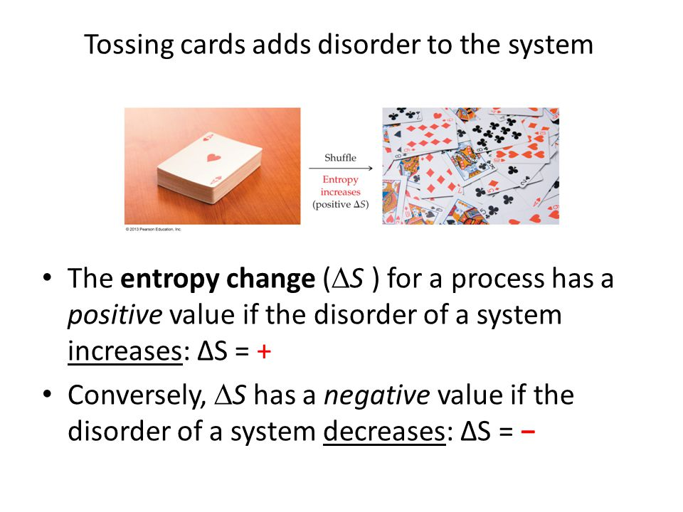 Tossing cards adds disorder to the system