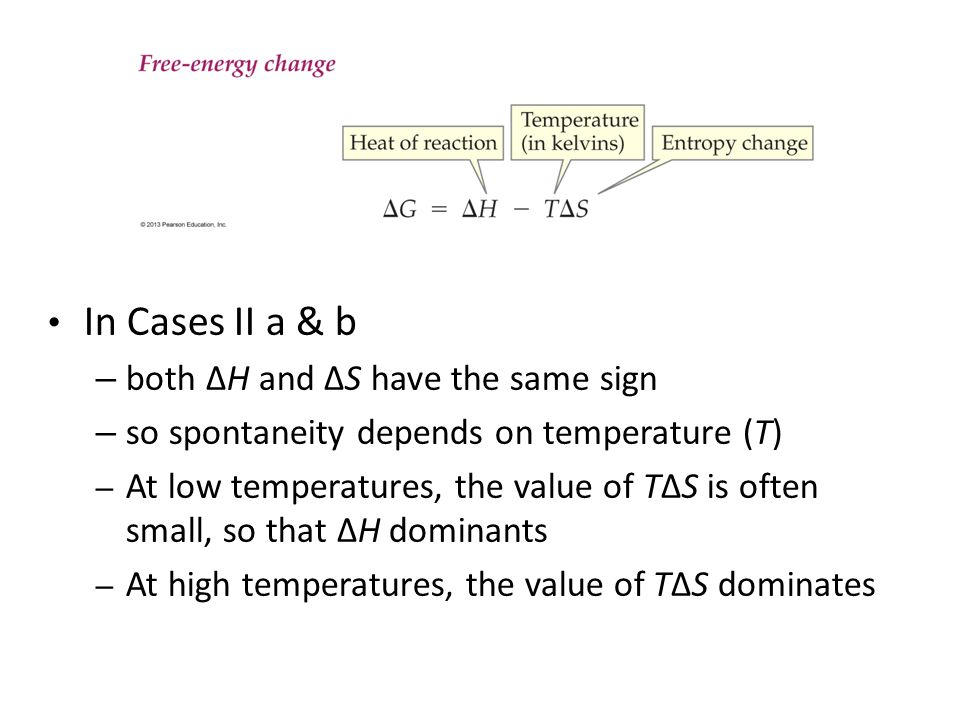 In Cases II a & b both ΔH and ΔS have the same sign