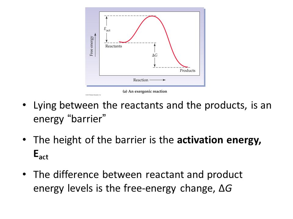 Lying between the reactants and the products, is an energy barrier