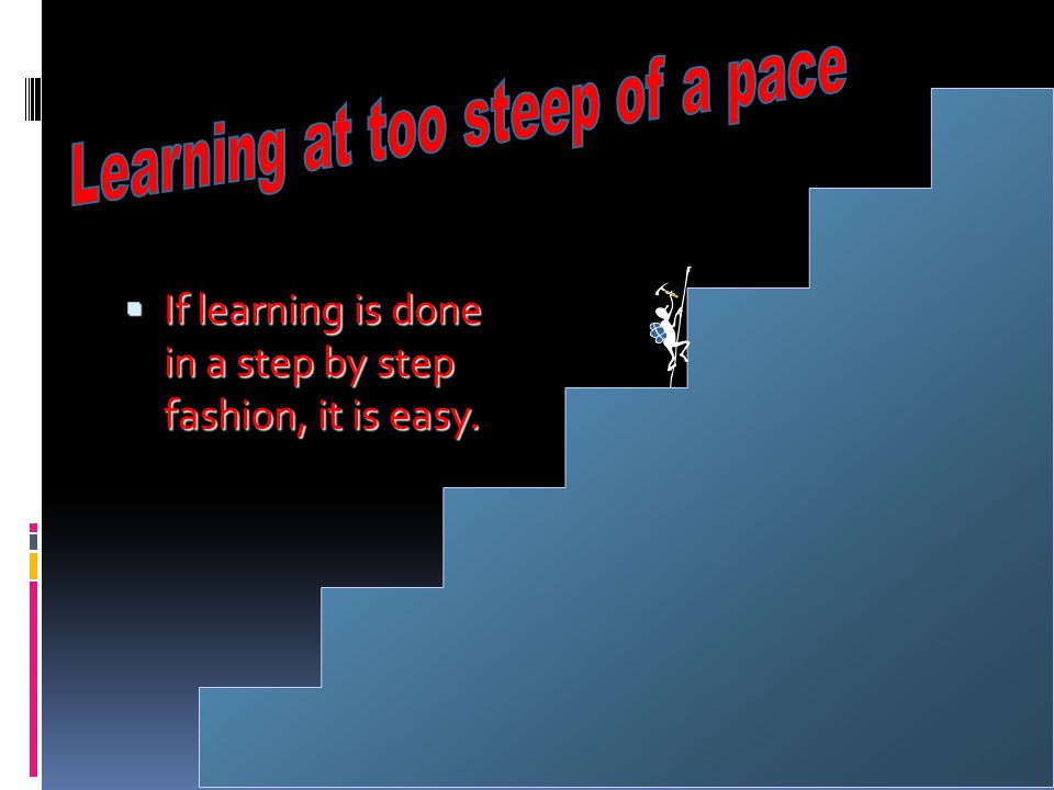 Learning at too steep of a pace