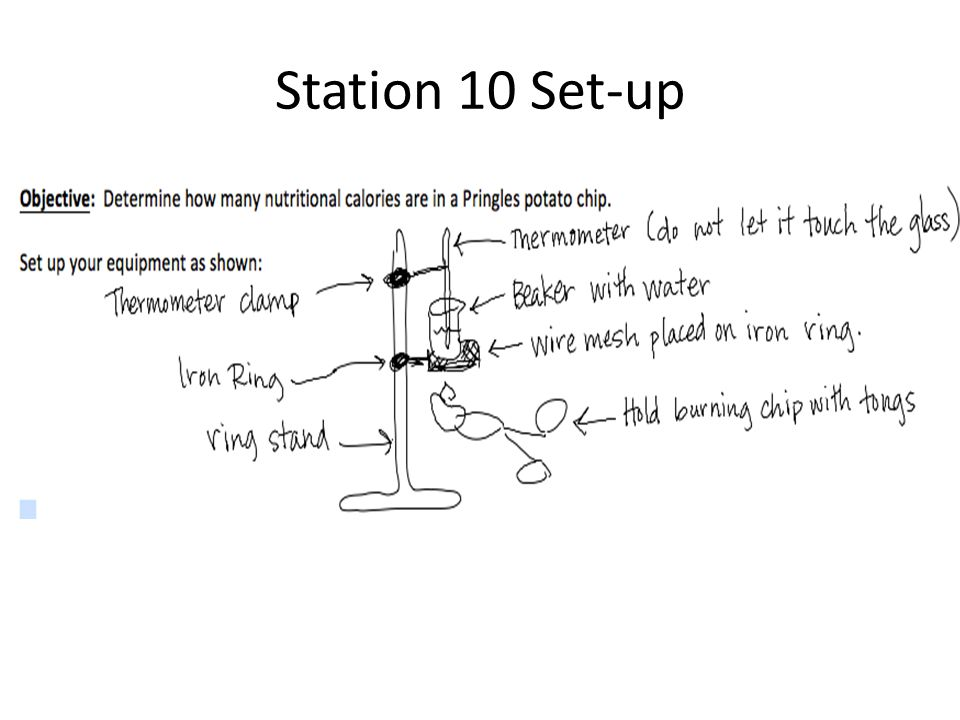 Station 10 Set-up Materials Ring stand Iron ring Thermometer clamp