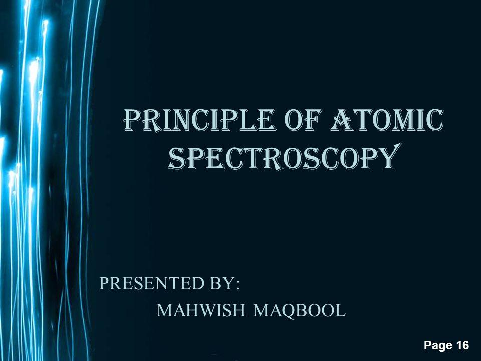 PRINCIPLE OF ATOMIC SPECTROSCOPY