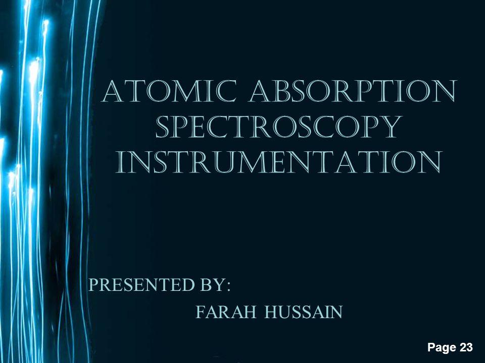 ATOMIC ABSORPTION SPECTROSCOPY INSTRUMENTATION
