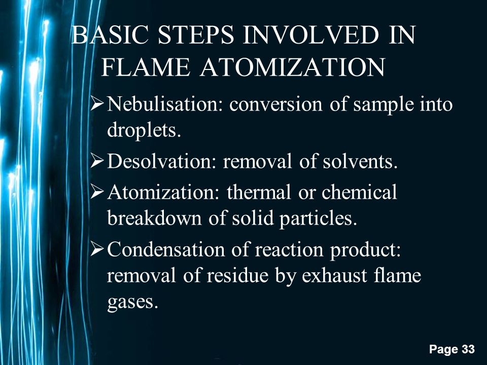 BASIC STEPS INVOLVED IN FLAME ATOMIZATION