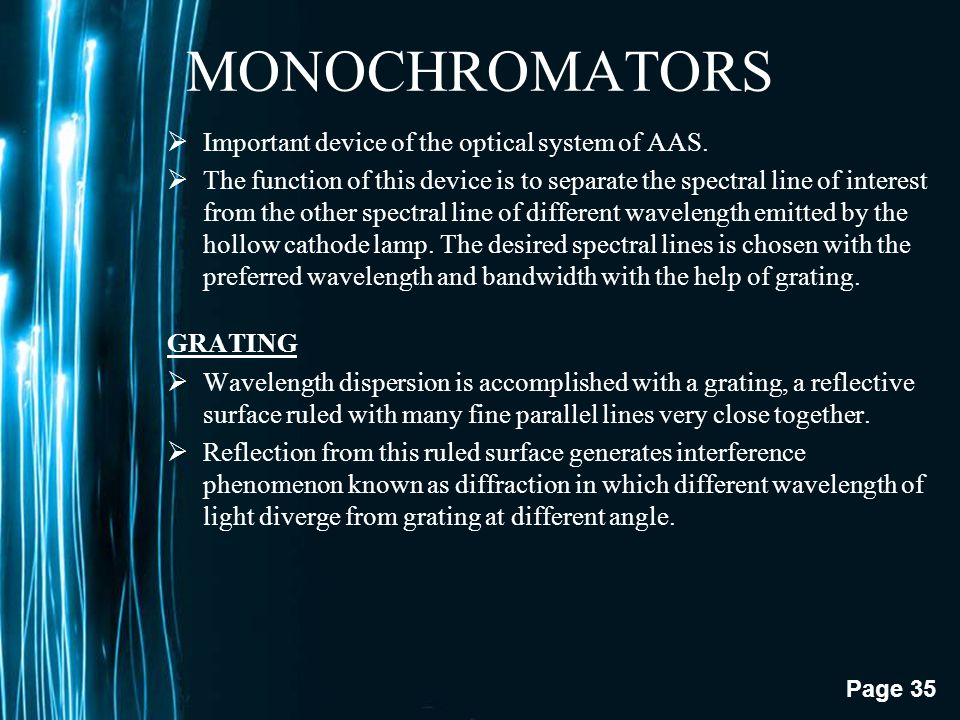 MONOCHROMATORS Important device of the optical system of AAS.