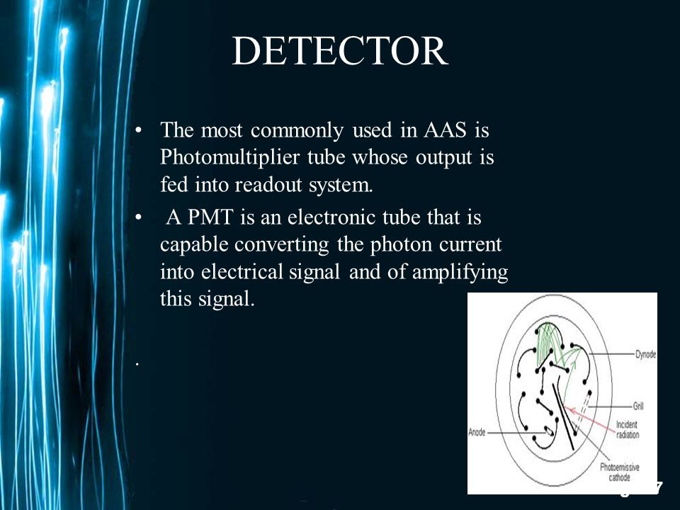 DETECTOR The most commonly used in AAS is Photomultiplier tube whose output is fed into readout system.