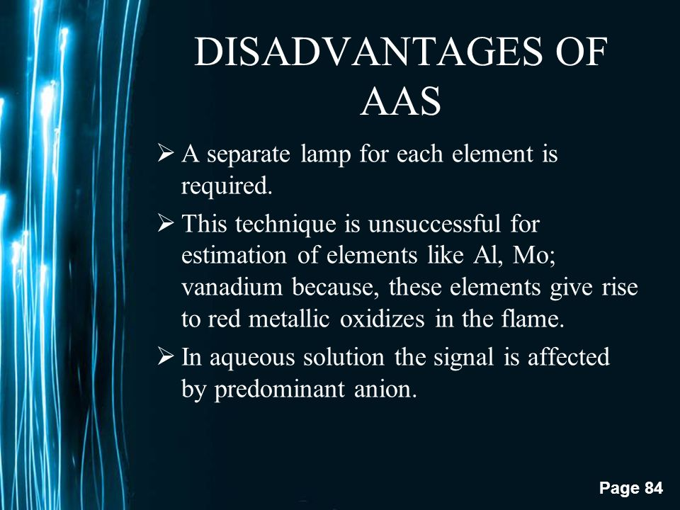 DISADVANTAGES OF AAS A separate lamp for each element is required.