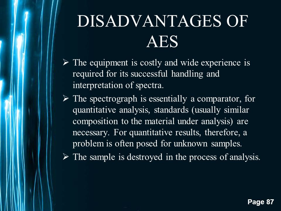 DISADVANTAGES OF AES The equipment is costly and wide experience is required for its successful handling and interpretation of spectra.