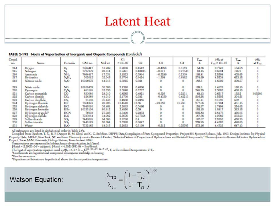 Latent Heat Watson Equation: